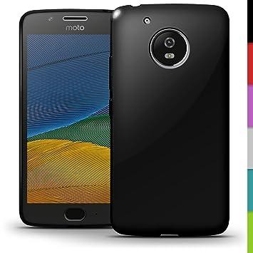igadgitz Sólido Negro Lustroso Funda Carcasa Gel TPU para Motorola Moto 5ª Generación (Moto G5/Lenovo Moto G5) Case Cover + Protector Pantalla