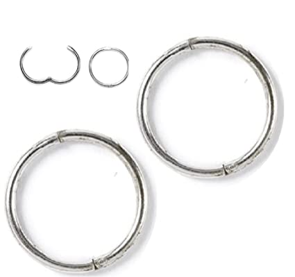 eb3836f6f4151d Image Unavailable. Image not available for. Color: Solid Sterling SILVER  Hinged Hoop Earrings,14mm ...