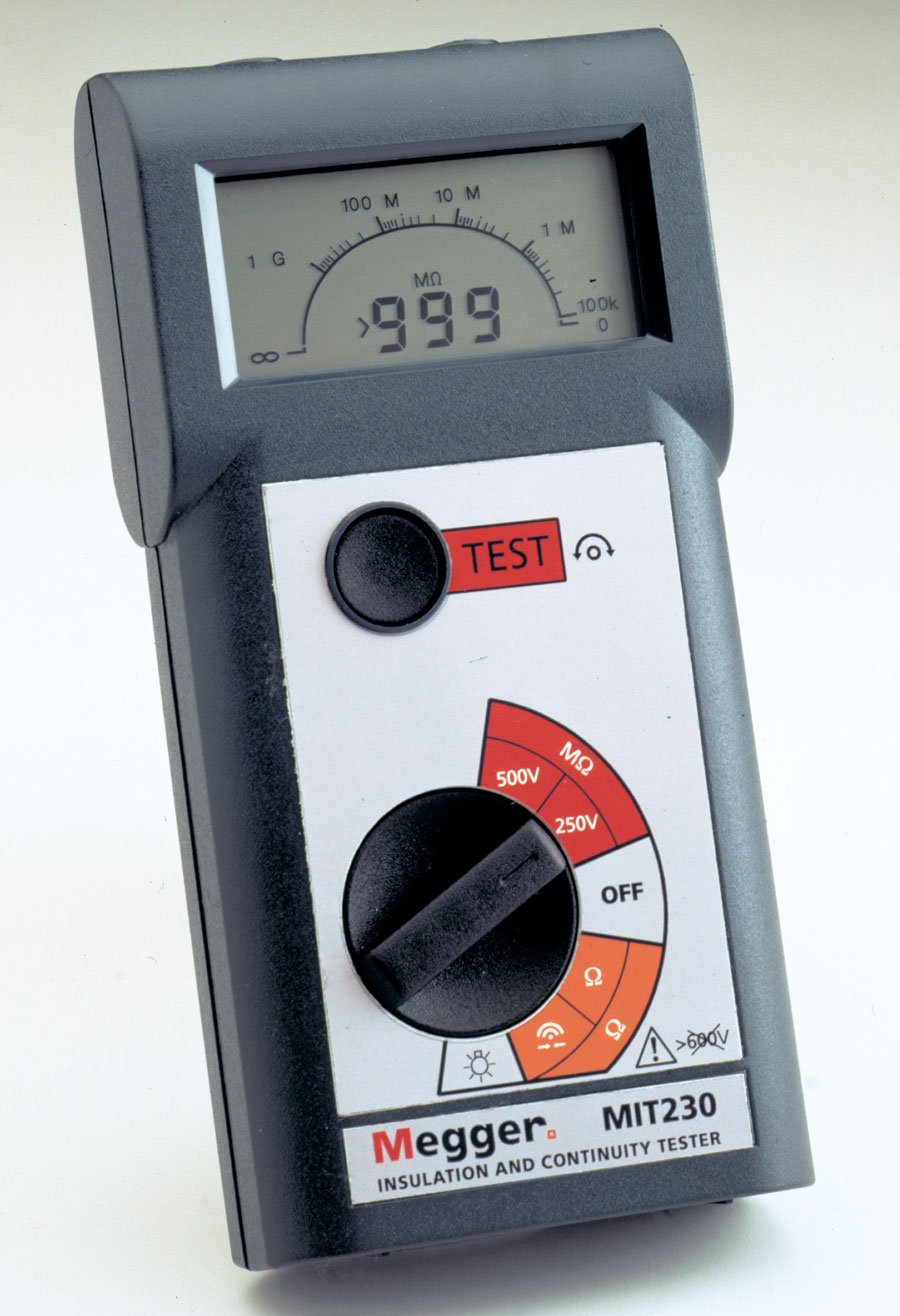 Megger MIT200-ENTCAL Insulation Tester, 1000 M Ohm, Resistance, 500V Test Voltage with a NIST-Traceable Calibration Certificate with Data