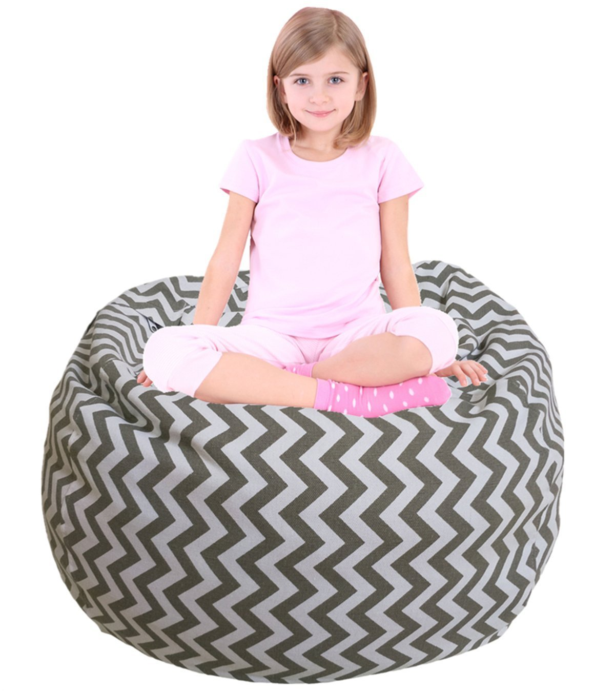 Kids Bean Bag | Large Bean Bag | Toy Storage | Children's Chair Cover | Soft Toy Bag | Kids Toys Organizer | Bean Bag Cover | Comfy Chair Comfortable Seating for Kids Gray Wave Stripes