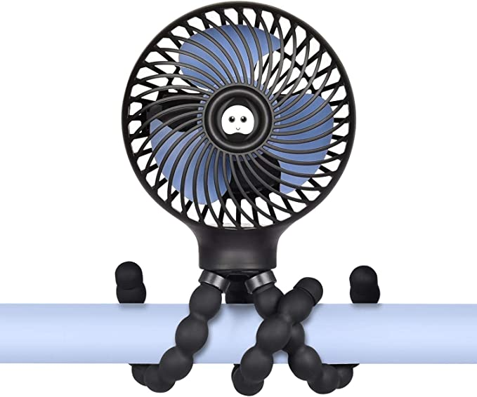 Clip On Fan For Stroller Potable Mini Fans Small Quiet Electric 720/° Adjustable Head Table Fan USB Charger And Battery Powered 3 Speed Office Desktop Fan Air Circulator Personal Cooling Fan USB Oper