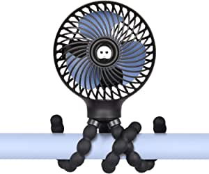 Mini Handheld Stroller Fan,Small Personal Portable Table Fan with USB Rechargeable Battery Operated Cooling Adjustable Electric Desk Fan for Travel Office Room Outdoor Household (Stroller Fan Black)