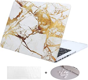 DWON MacBook Pro 13 Inch with Retina with Keyboard Cover and Dust Plug for Apple MacBook Pro 13 Inch Sleeve Model (A1502/A1425, Version 2015/2014/2013/end 2012) - White Marble