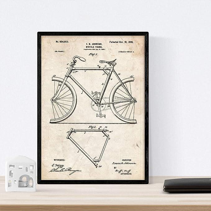 Nacnic Poster con Patente de Marco de Bicicleta. Lámina con diseño ...