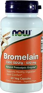 NOW Bromelain 2400 GDU, 500mg, 60 Capsules (Pack of 2)