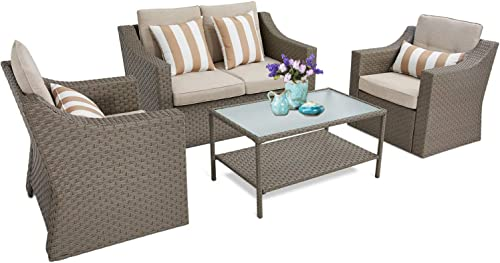 SUNCROWN 4 Piece Outdoor Patio Furniture Conversation Set Rattan Wicker Chair