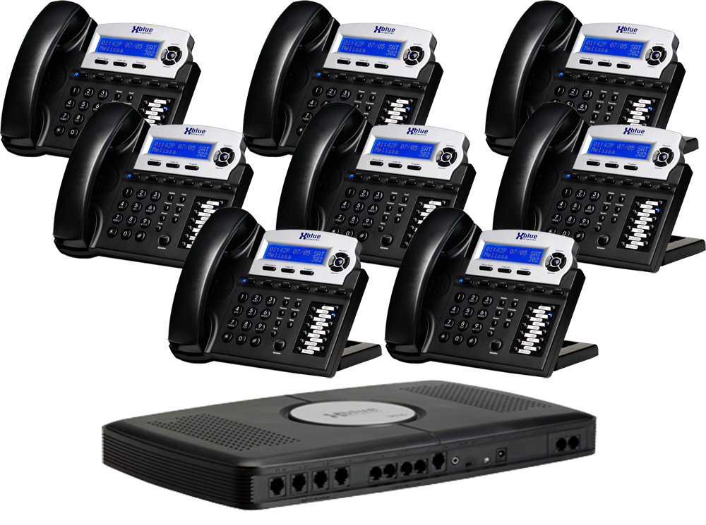 X16, Small Office Phone System with 8 Charcoal X16 Telephones - Auto Attendant, Voicemail, Caller ID, Paging & Intercom