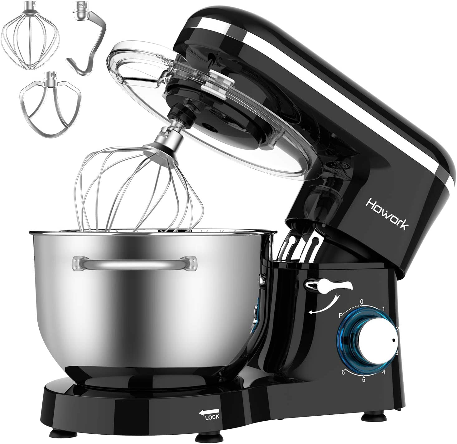 HOWORK Stand Mixer, 660W Electric Kitchen Food Mixer With 6.55 Quart Stainless Steel Bowl, 6-Speed Control Dough Mixer With Dough Hook, Whisk, Beater
