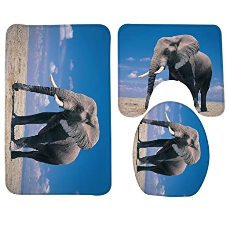 YOOSANG Bath Mat,Elephant,Big Elephant Bathroom Carpet Rug,Non Slip 3