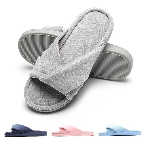 Zapatillas de casa de Mujer, Ultraligero cómodo y Antideslizante, Zapatilla de Estar por casa para Mujer con Adorno de Nudo Sobre la Pala: Amazon.es: ...