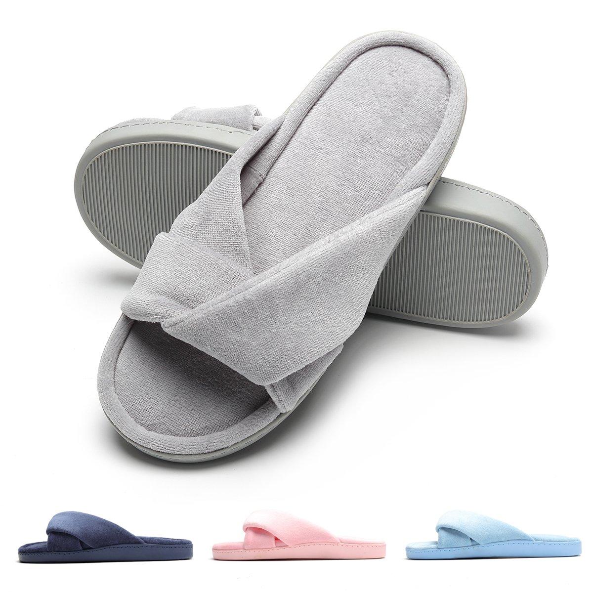Bedroom Slippers Comfort Four Season Classy Indoor Spa Slide Shoes Gray M