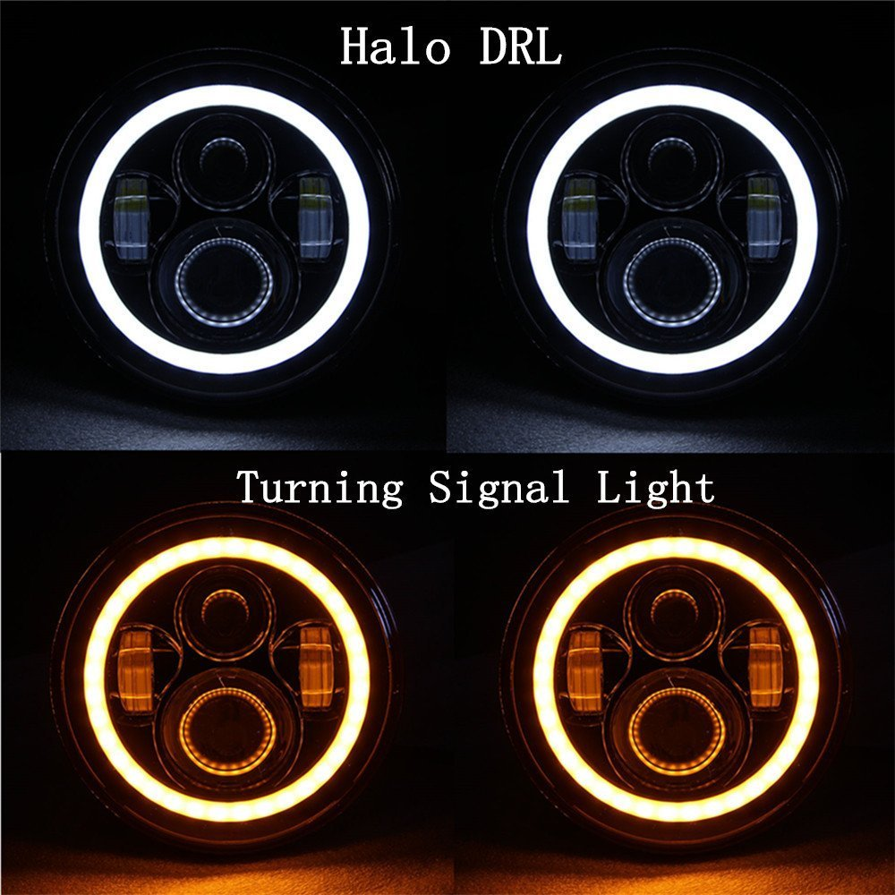 2 Pack-Lantsun 7 Inch Round CREE LED Projector Headlights with White Halo Angel Eye Ring DRL /& Amber Turn Signal Lights for 97-2017 Jeep Wrangler JK J022 2 Yr Warranty