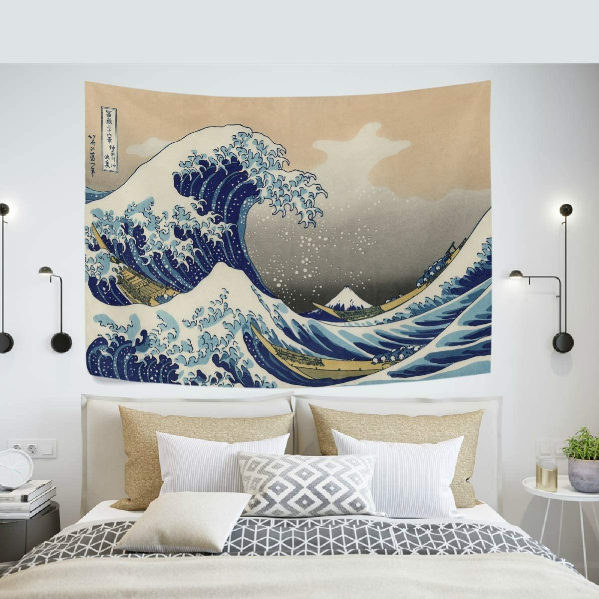 Tapestry Great Waves of Kanagawa Big Tsunami Nautical Pattern Wall Hanging Art Home Decor Polyester Tapestry for Living Room Bedroom Bathroom Kitchen Dorm 60 x 51 Inches