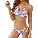 NOVMAY Women's Top Ties Halter Bikini Swimsuit Sets Bead Two Piece Cut Out Waist Swimwear Beachwear Boho Brazilian