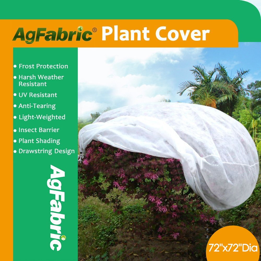 Agfabric Plant Cover Warm Worth Frost Blanket - 0.95 oz Fabric of 72''Hx72''Dia Shrub Jacket, 3D Round Plant Cover for Season Extension&Frost Protection