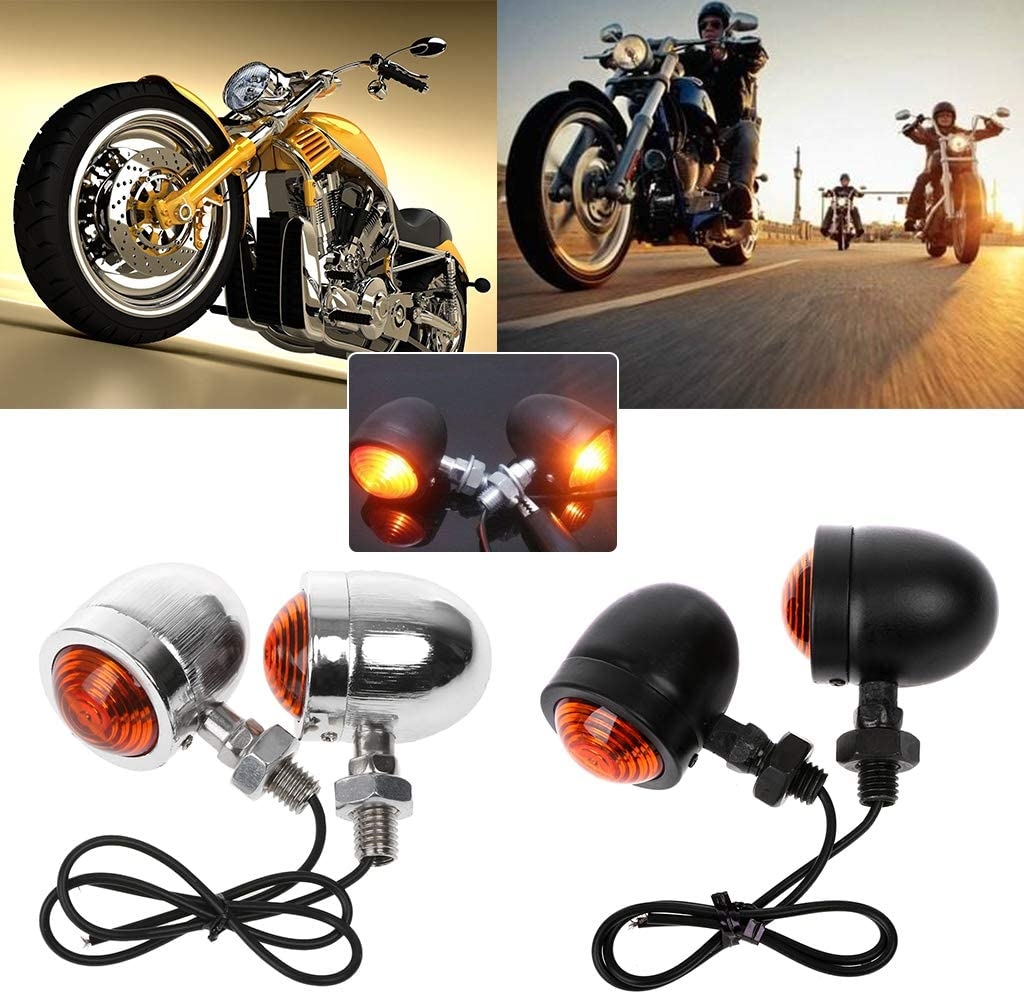 ESden 1 Pair Motorcycle Turn Signal 12v Indicator Light Amber Motorbike Blinker Headlight Lamp Bullet Chrome