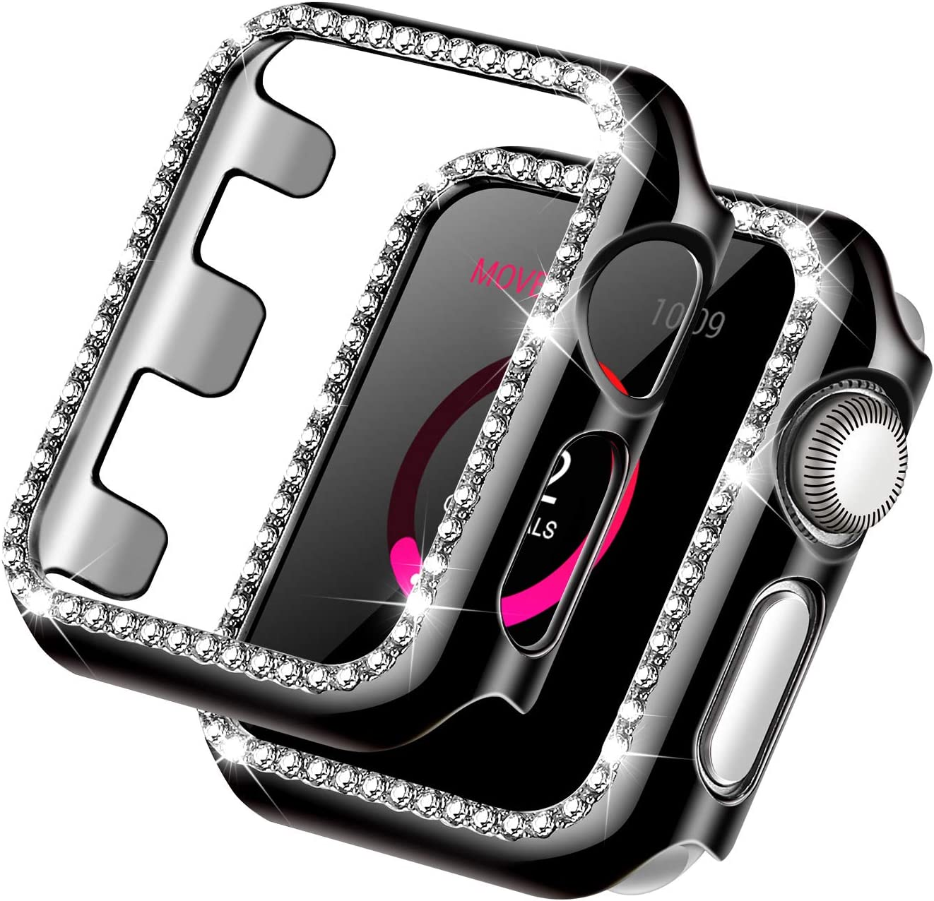 Forbear Compatible with Apple Watch Case 42mm, iWatch Cover with Bling Crystal Diamonds Shiny Rhinestone Bumper, Electroplated PC Protective Frame for Apple Watch Series 3/2/1 (Black, 42mm)