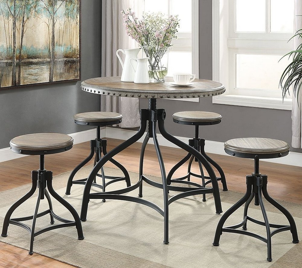 Kenneth 5-Pc Adjustable Height Round Dining Table Set by Crown Mark