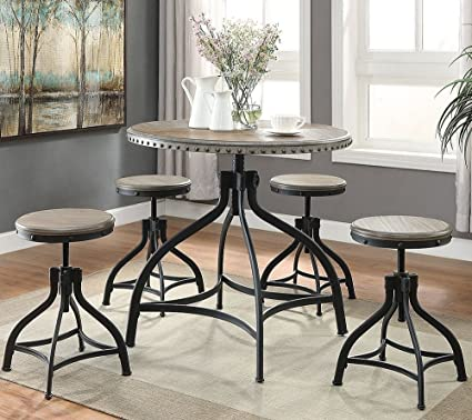 Kenneth 5 Pc Adjustable Height Round Dining Table Set By Crown Mark
