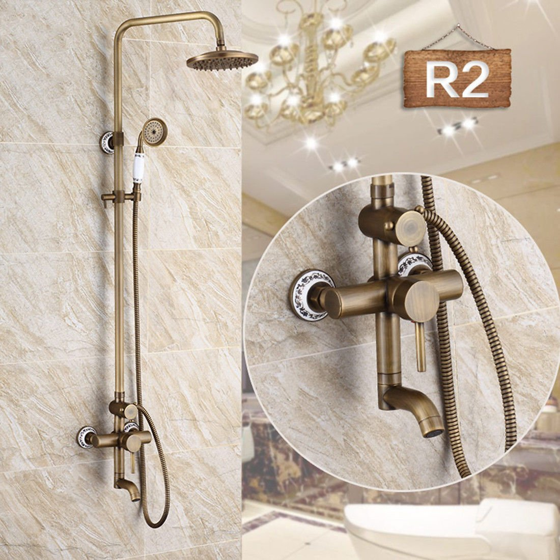 R2 Hlluya Professional Sink Mixer Tap Kitchen Faucet Faucets antique shower kit copper cold water faucet bathroom with lifting shower bathroom antique wall-style shower kit,R1