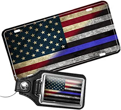 Police Thin Blue Line Leather Key Ring Chaini Subdued Flag Blue Lives Matter USA