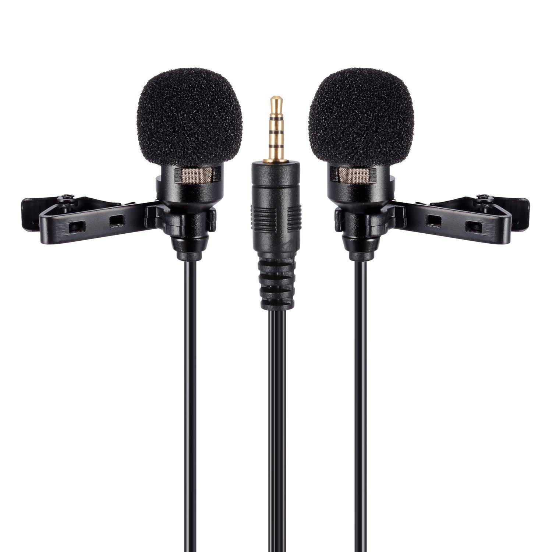 PChero doppio Headed Lavalier clip-on microfono a condensatore omnidirezionale per Apple iPhone, iPad, iPod Touch, Android e di Windows Smartphone MA004