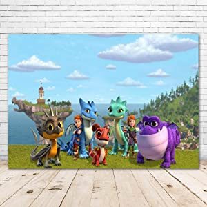 Dragons Rescue Riders Backdrop for Kids Happy Birthday Party Supplies 7X5ft Vinyl Rescue Riders Theme Party Decorations Cake Table Banner Photo Booth Background Room Wall Decor