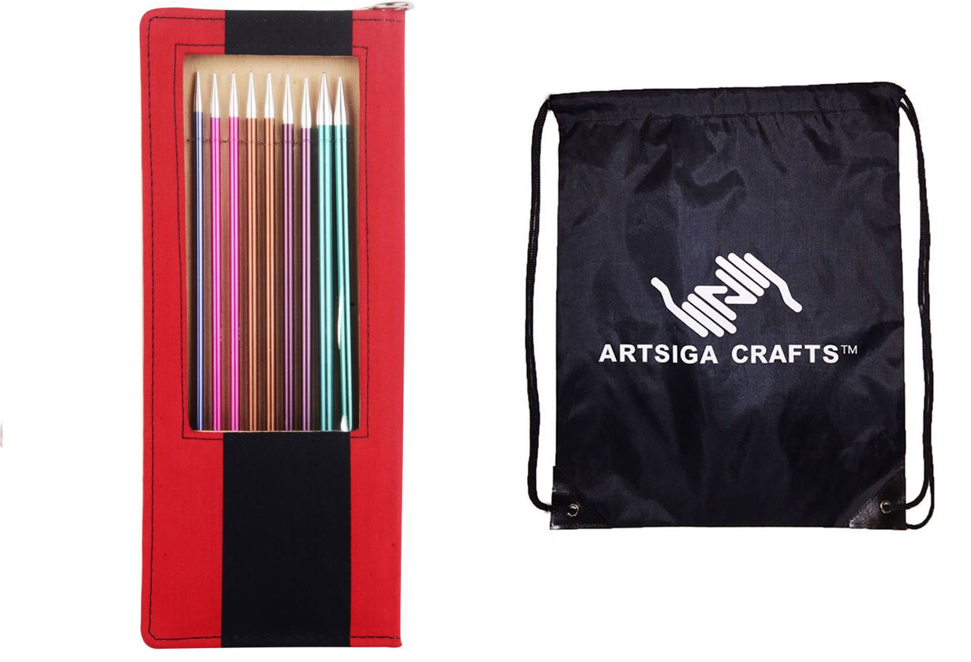 Knitter's Pride Zing Straight Needles Set 14''- Bundle with 1 Artsiga Crafts Bag 140305
