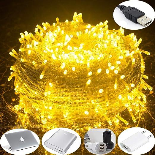 luz de navidad, iluminación pilas potencia, alimentado por USB 10M ...