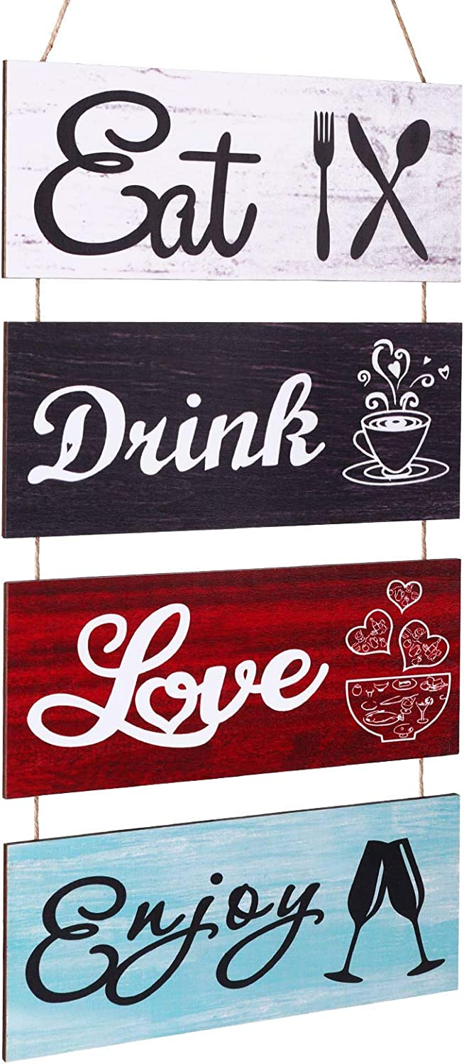 Jetec Rustic Kitchen Wall Decor Eat Drink Love Enjoy Wall Hanging Wood Sign Wooden Kitchen Restaurant Hanging Wall Art for Home Kitchen Dining Room House Decor (Retro Color)