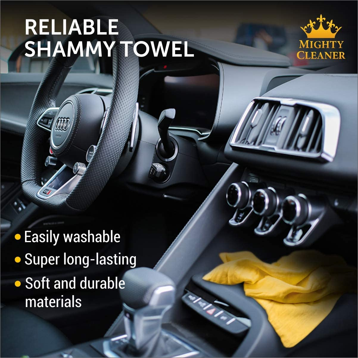 Mighty Cleaner Premium Сar Shammy Towel Original Car Drying Towel Super Absorbent Chamois Cloth for Car 26 x 17