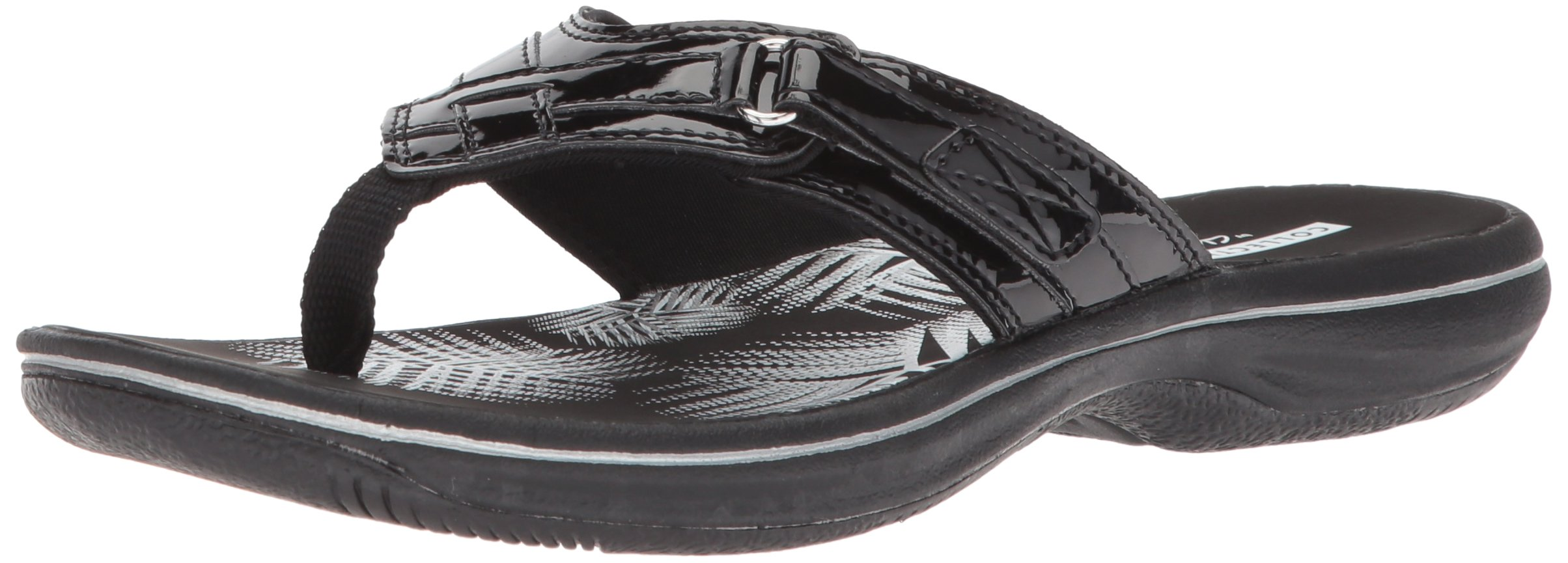 CLARKS Women's Breeze SEA Platform, Black Synthetic Patent, 8 B(M) US