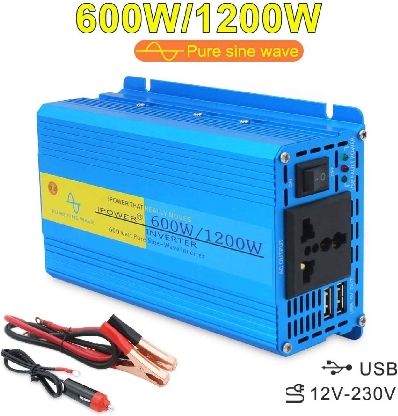 Spannungswandler 300 600 Watt 12V 230V reiner SINUS Inverter Wechselrichter NEU