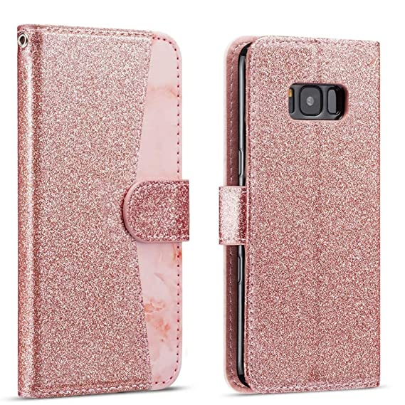 ed47b22acf62 for Samsung Galaxy S9 Case LAPOPNUT Luxury Glitter Rose Gold PU Leather and  Marble Pattern Designer