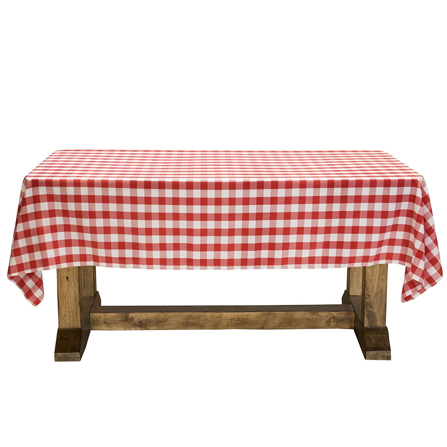 """Lann's Linens - 60"""" x 126"""" Premium Checkered Tablecloth - Rectangular Polyester Fabric Picnic Table Cover - Red & White Gingham Cloth"""