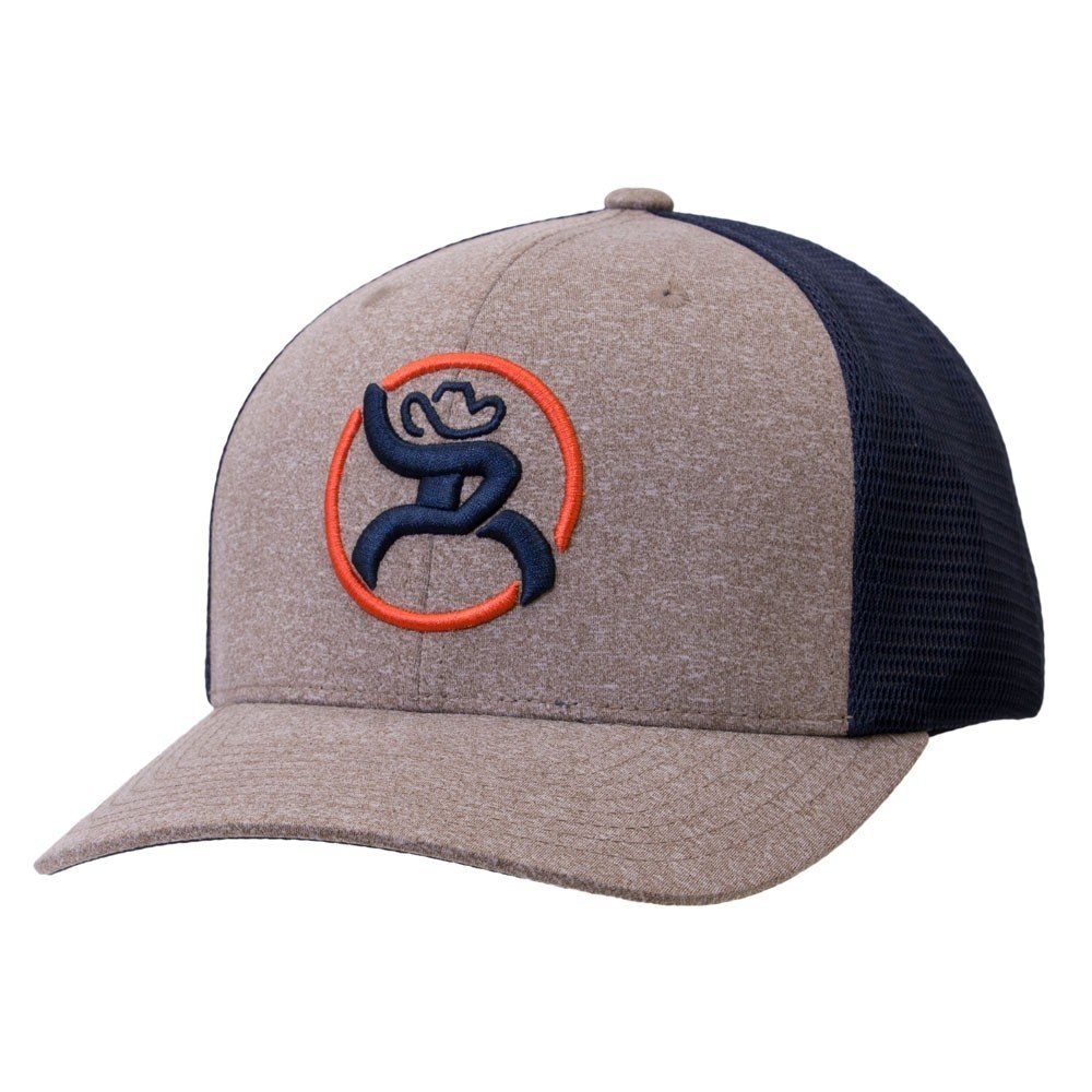 HOOey Brand Strap Heather Tan/Navy Trucker Snapback Hat, Youth