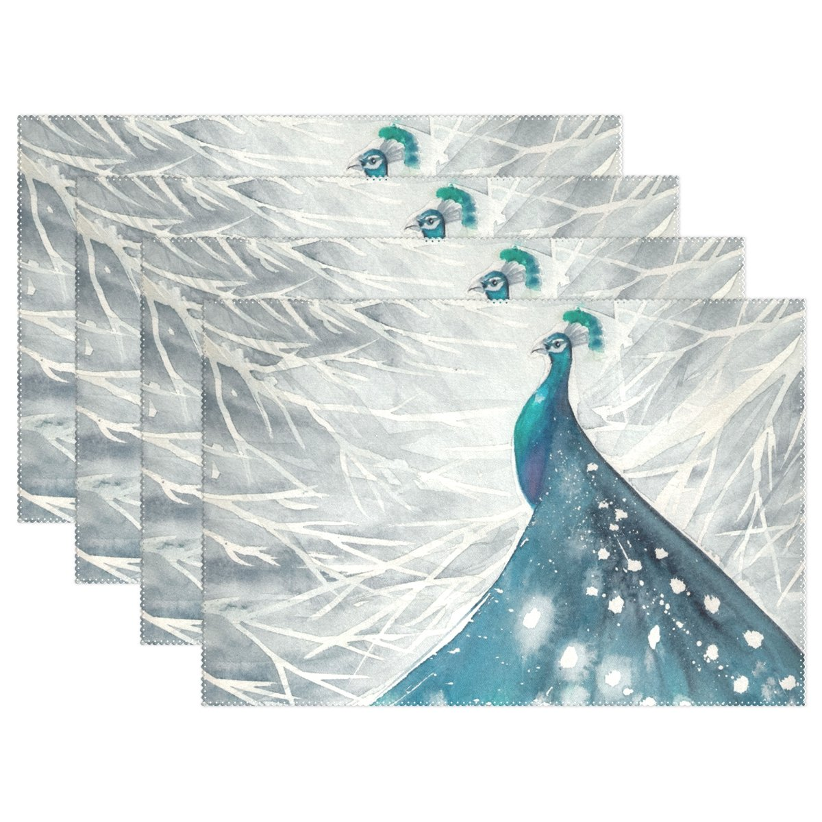 Ethel Ernest Amazing Bird Peacock As Night Sky Over City耐熱プレースマット、ポリエステルテーブルマットPlace Mat forキッチンダイニングルーム1 Piece 12x18x6 in 6  B075ZQS6KS