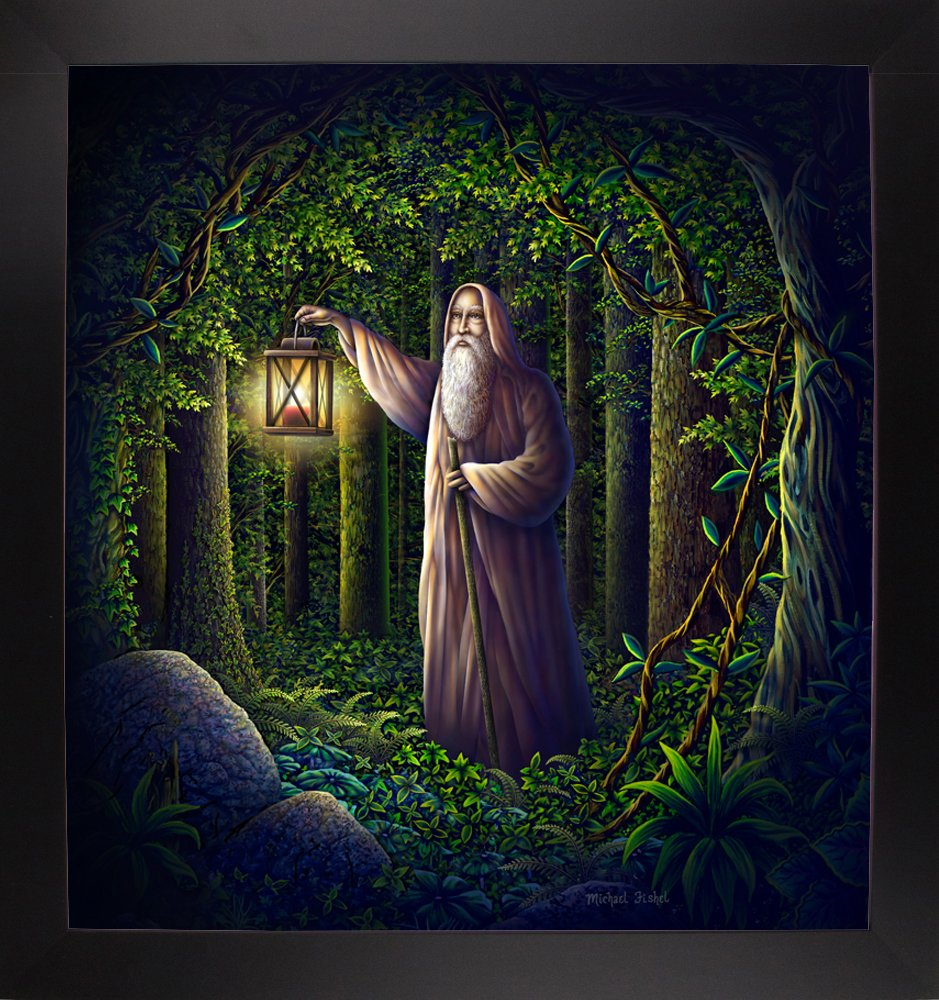 Frame USA Old Man in The Woods 36x33.5 by Michael Fishel in a Affordable Black Large-MICFIS271952 Print 36x33.5 Large