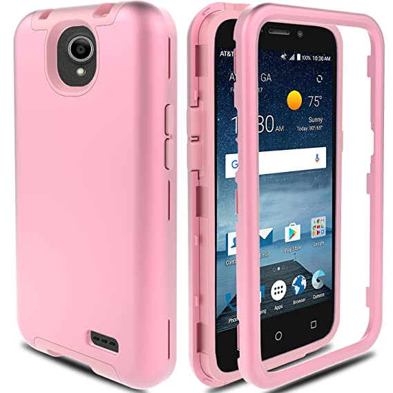 newest collection e548a 9af9e ZTE Maven 3 Case, ZTE Overture 3 Case, ZTE Prestige 2/Prelude Plus 4G LTE  Case AMENQ Hybrid 3 IN 1 Heavy Duty Shockproof Protection Rugged Rubber ...