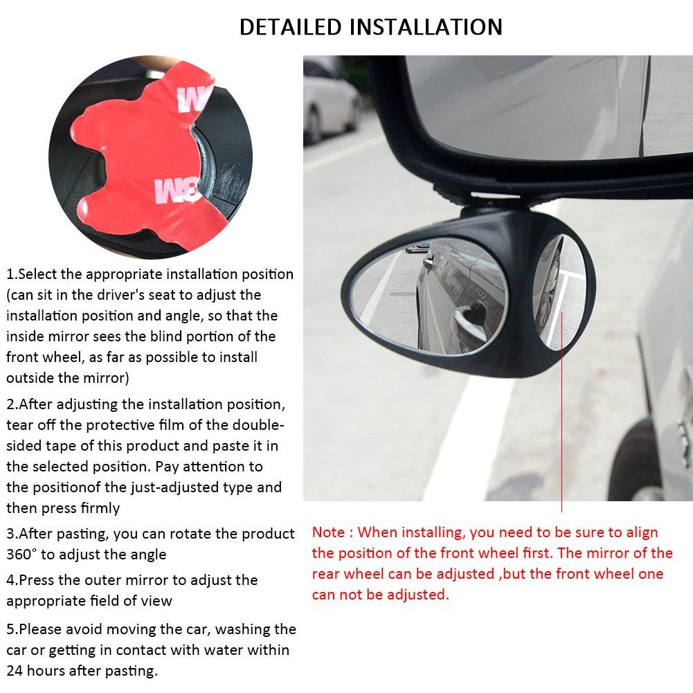 Motorrad 2 St/ück 360 /° drehbar SUV feiledi Trade Spiegel f/ür Toten Winkel HD Glas konvexer Weitwinkel zum Aufkleben f/ür alle PKW LKW Rahmenlos verstellbar