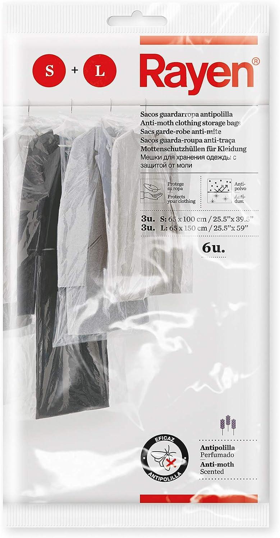 Rayen Funda Armario con antipolilla. Pack de 6 Bolsas Transparentes para Guardar Protectora de Ropa Antipolvo, Polietileno, 3 und 65x100 cm, 3 und 65x150 cm