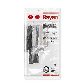 Rayen Funda Armario con antipolilla. Pack de 6 Bolsas Transparentes para Guardar Protectora de Ropa Antipolvo, Polietileno, 65x100 cm, 3 und 65x150 cm