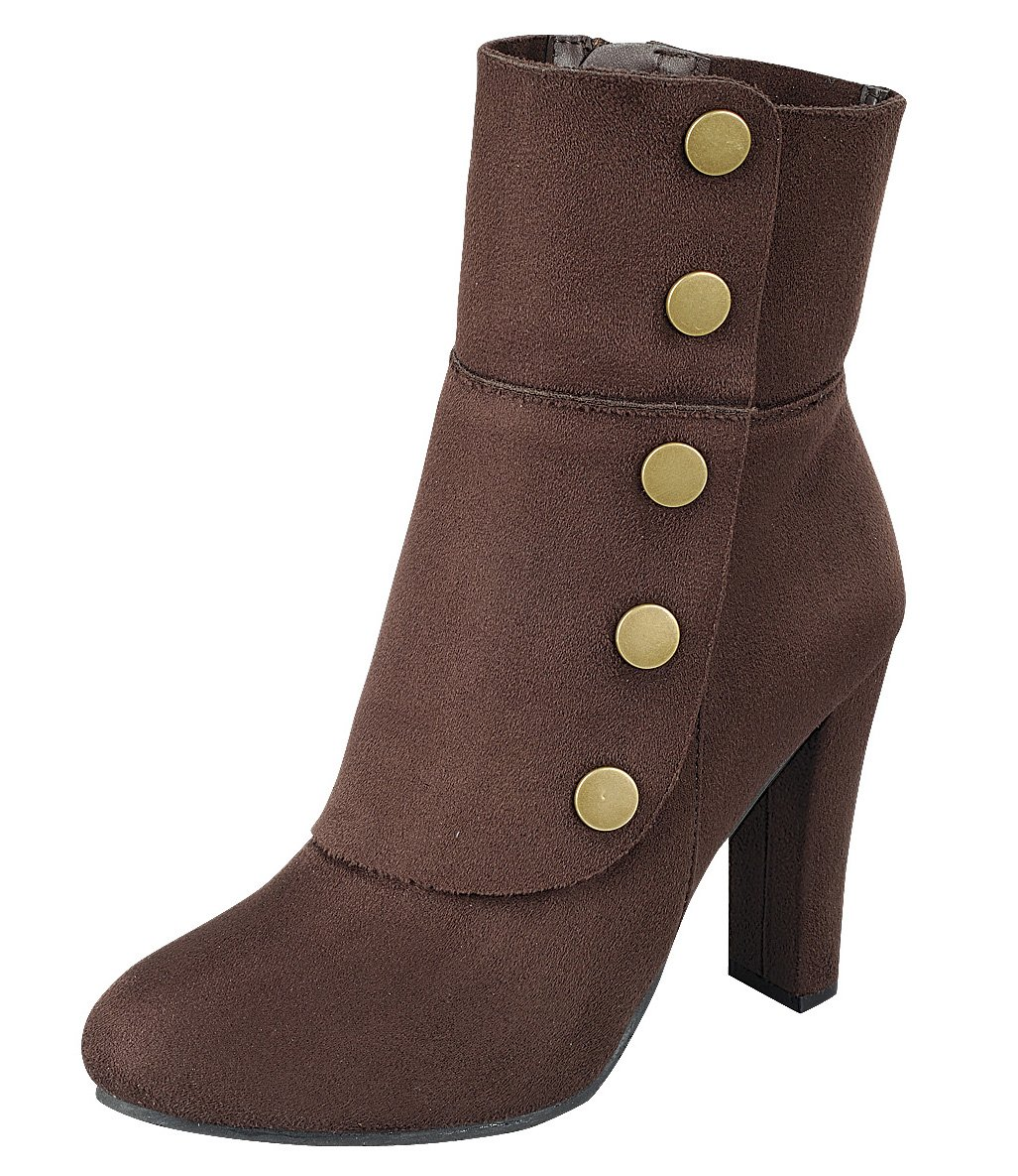 Cambridge Select Women's Victorian Steampunk Side Button Chunky Heel Ankle Boot (7.5 B(M) US, Brown)