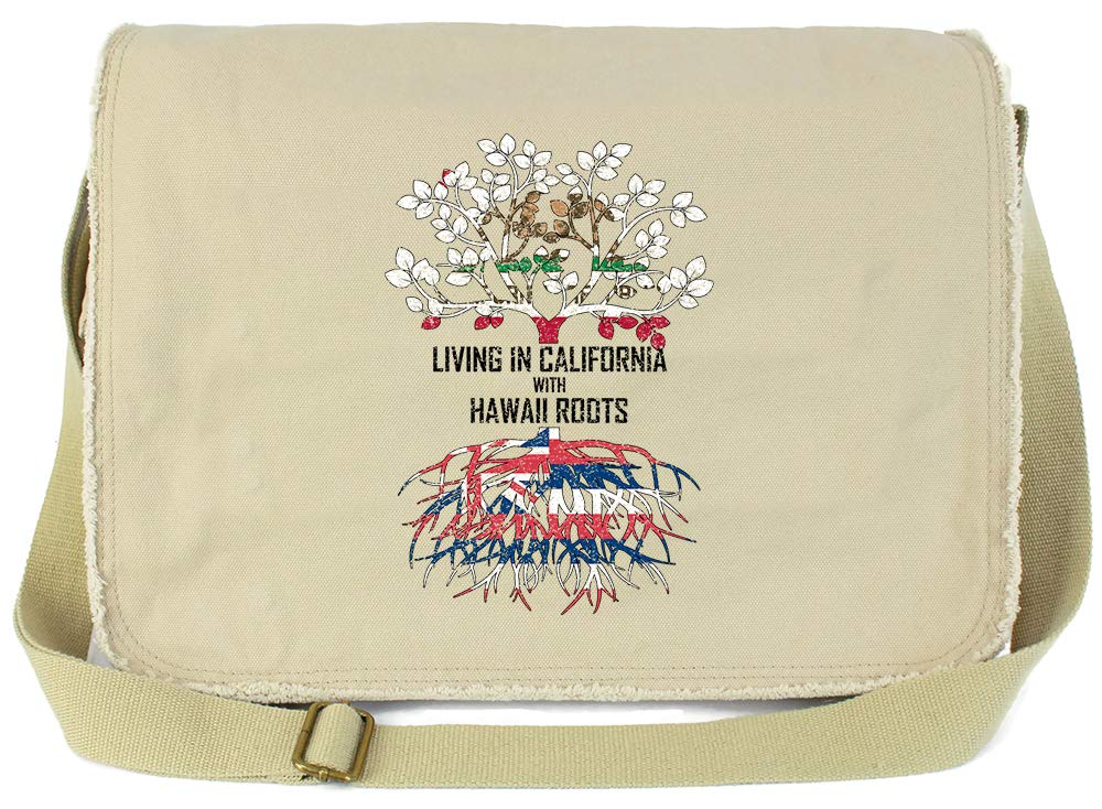 Tenacitee Living In California with Hawaii Roots Grey Brushed Canvas Messenger Bag