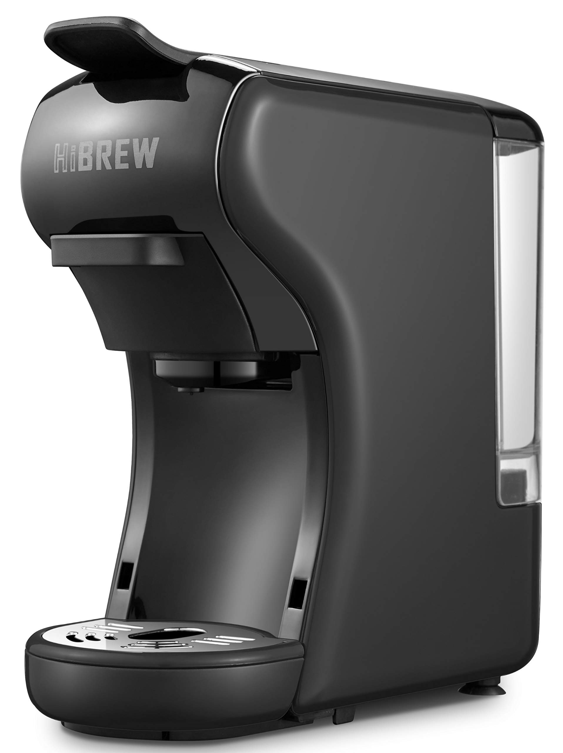 HiBREW 3-in-1 Multi-Function Espresso Coffee Maker Dolce Gusto Machine Compatible with Nespresso Capsule, Dolce Gusto Capsule and Ground Coffee, Italian 19 Bar High Pressure Pump, Buttons for Espresso and Lungo, 1450W (Black) by HIBREW