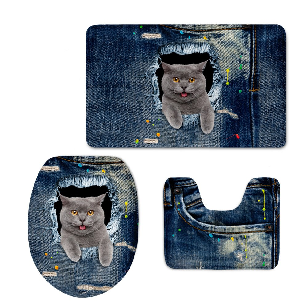 Coloranimal Bathroom Rugs Set 3 Piece Soft Rubber Backing Non Slip Bath Mats Colorful Cobblestone Pattern Lid Cover with Contour Mat Flannel Carpets Machine Washable