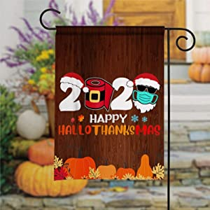 DONL9BAUER Happy Hallothanksmas 2020 Santa Wearing Mask Garden Flag Vertical Double Sided, Christmas Yard Outdoor Decoration Seasonal Flag Banner for Patio Lawn 12x18 Inch
