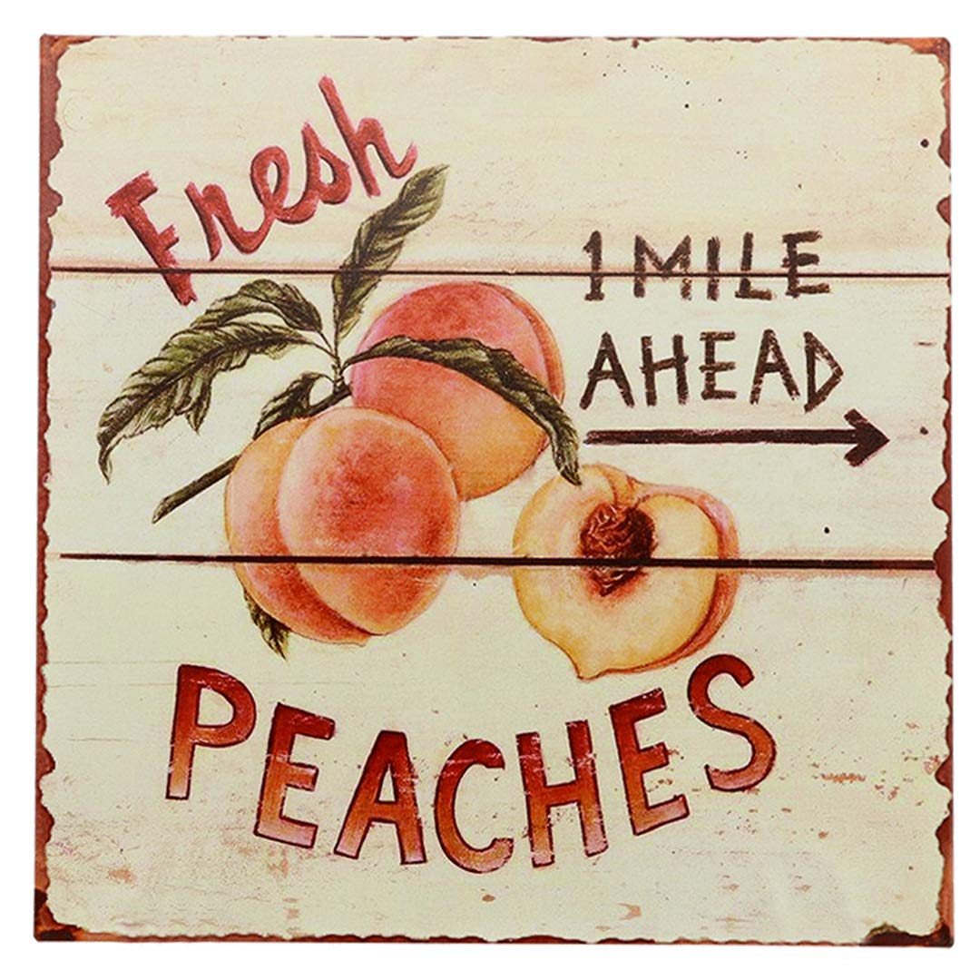"Barnyard Designs Fresh Peaches Retro Vintage Tin Bar Sign Country Home Decor 11"" x 11"""