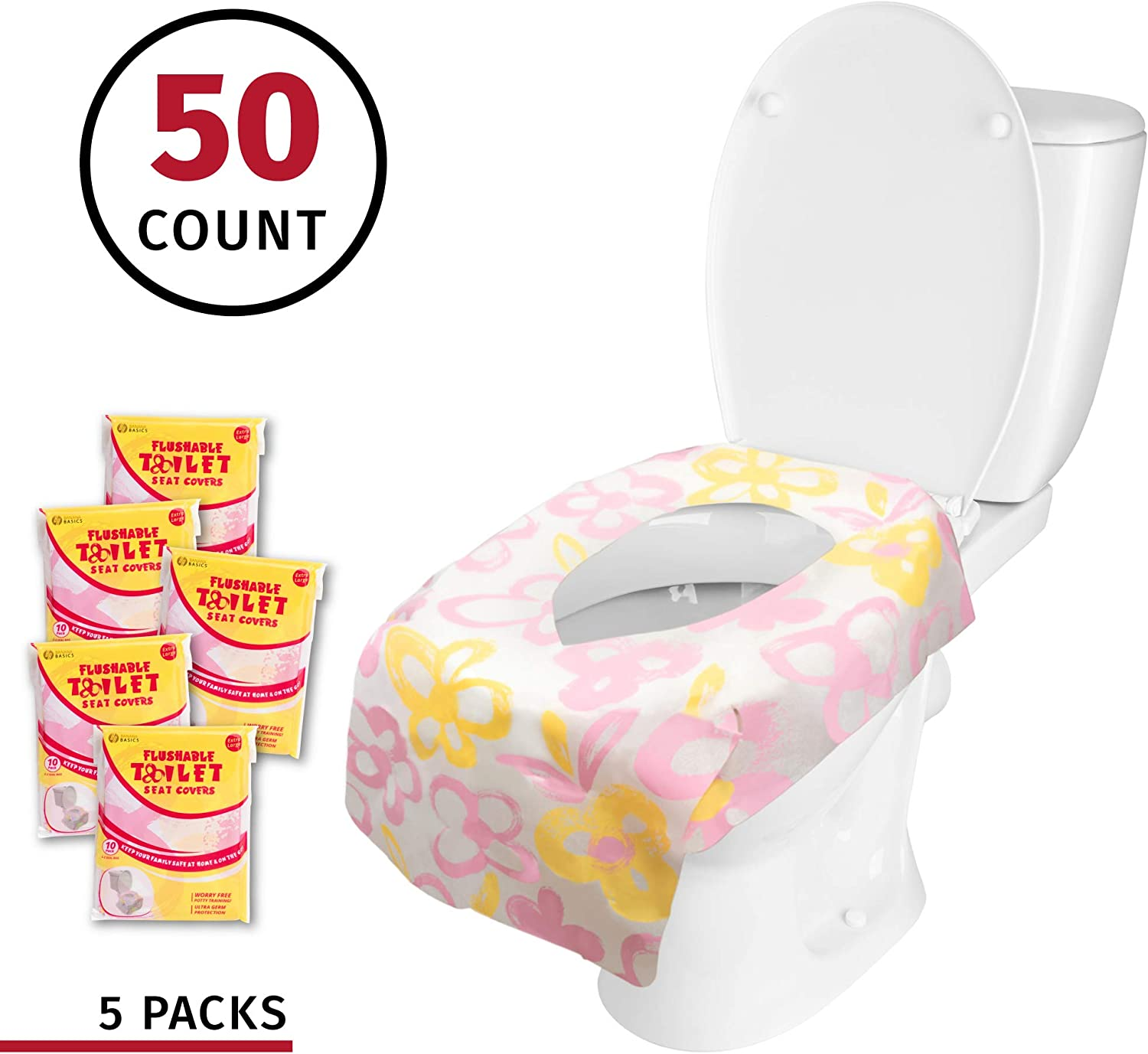 Banana Basics Flushable Disposable Paper Toilet Seat Cover Messes | Cars, 50 Pack 5 Packs, 10 Each Reduce Germs X-Large Coverage Cleanliness Kid-Friendly Promotes Proper Hygiene