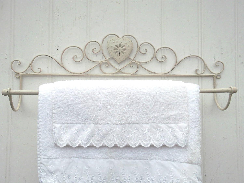 Grande cuore shabby chic francese crema porta asciugamani da parete stile vintage AGI